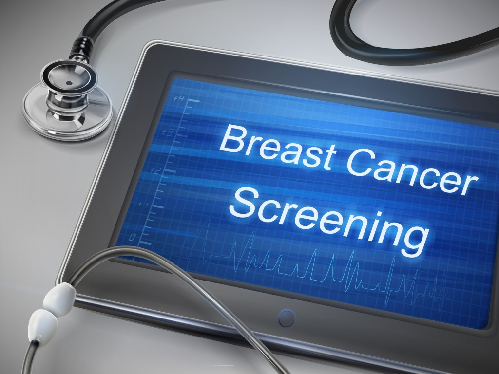 breast cancer screening words display on tablet